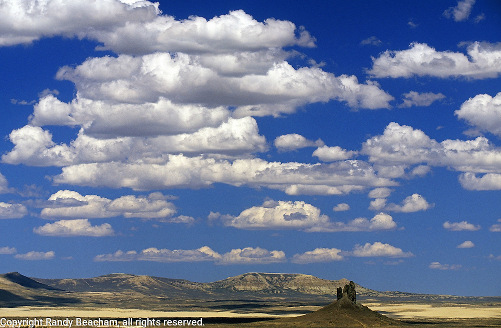 Boars Tusk, a volcanic plug, in the Red Desert. Great Divide Basin, Wyoming