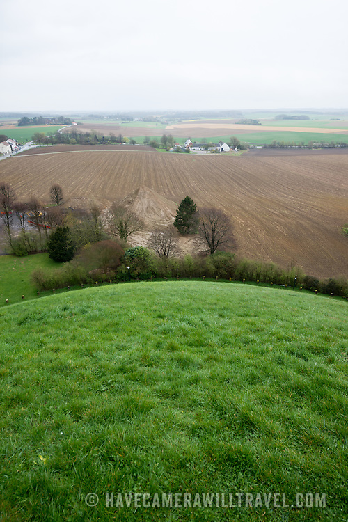 View of the battlefield from the top of the Lion's Mound (Butte du Lion), an artificial hill built on the battlefield of Waterloo to commemorate the location where William II of the Netherlands was injured during the battle. The hill is situated on a spot along the line where the Allied army under the Duke of Wellington's command took up positions during the Battle of Waterloo.