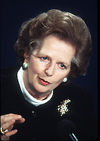 Margaret Thatcher gives a press conference at 10 Downing Street  in February, 1988