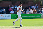 Wicket - Ed Barnard of Worcestershire celebrates taking the wicket of Craig Overton of Somerset during the Specsavers County Champ Div 1 match between Somerset County Cricket Club and Worcestershire County Cricket Club at the Cooper Associates County Ground, Taunton, United Kingdom on 20 April 2018. Picture by Graham Hunt.
