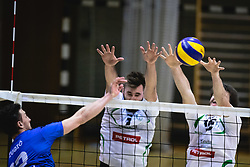Žugić Nikola of Šoštanj Topolšica in battle for point with Drvarič Urban of Panvita Pomgrad and Marovt Maj of Panvita Pomgrad during volleyball match between Panvita Pomgrad and Šoštanj Topolšica of 1. DOL Slovenian National Championship 2019/20, on December 14, 2019 in Osnovna šola I, Murska Sobota, Slovenia. Photo by Blaž Weindorfer / Sportida