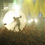 WASHINGTON, DC - October 26th, 2012 - Major Lazer DJ and group leader Diplo leaves his station behind the turntables to venture out into the crowd inside a plastic bubble during the group's performance at the 9:30 Club in Washington, D.C.  (Photo by Kyle Gustafson / For The Washington Post)