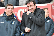 Blackpool Manager, Gary Bowyer  and Bristol Rovers Manager, Darrell Clarke  during the EFL Sky Bet League 1 match between Blackpool and Bristol Rovers at Bloomfield Road, Blackpool, England on 13 January 2018. Photo by Mark Pollitt.