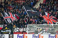 ALKMAAR - 26-11-15, Europa League, AZ  - FK Partizan, AFAS Stadion, 1-2, supporters AZ, sfeer, vlaggen, vlag.