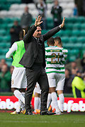 14th October 2017, Celtic Park, Glasgow, Scotland; Scottish Premiership football, Celtic versus Dundee; Celtic manager Brendan Rodgers applauded the fans at full time