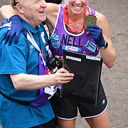 London, England, UK. 28 April 2019. Nell McAndrew finish the Virgin Money London Marathon at Pall Mall.