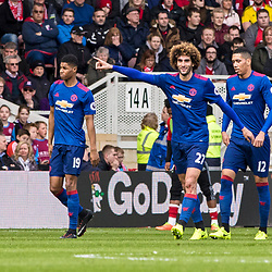 Goalscorer Marouane Fellaini of Manchester United points to Jose Mourinho - Manchester United Manager ( out of shot ). With him are Marcus Rashford of Manchester United and Chris Smalling of Manchester United.Middlesborough v Manchester United, Barclays English Premier League, 19th March 2017. (c) Paul Cram | SportPix