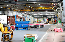 A view inside the main hangar below the flight deck ahead of sea trials this summer, for the Royal Navy's new aircraft carrier HMS Queen Elizabeth, at Rosyth Dockyard in Dunfermline.