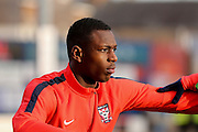York City forward, on loan from Burnley, Ntumba Mabssanka  during the Sky Bet League 2 match between York City and Newport County at Bootham Crescent, York, England on 16 January 2016. Photo by Simon Davies.