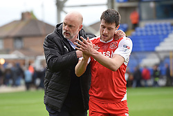 Fleetwood Town manager Uwe Rösler celebrates victory with Bobby Grant  - Mandatory by-line: Chantelle McDonald/JMP - 14/04/2017 - FOOTBALL - ABAX Stadium - Peterborough, England - Peterborough United v Fleetwood Town - Sky Bet League One