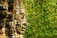 A close-up of a typical bayon face, Bayon Temple, Siem Reap, Cambodia