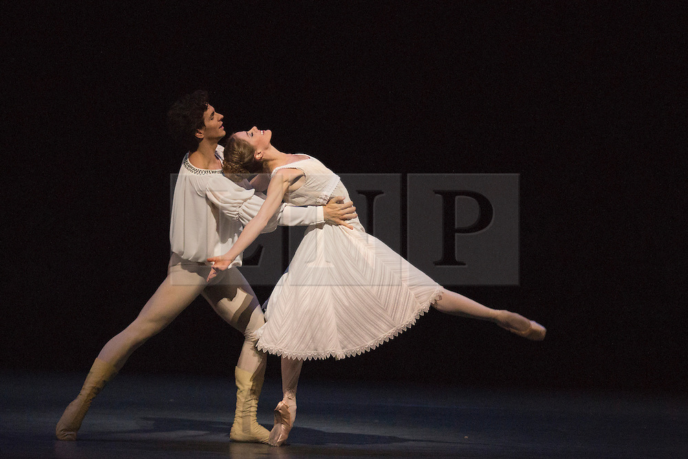 """© Licensed to London News Pictures. 17/04/2013. London, England. Picture: Heather Ogden as Juliet and Guillaume Côté as Romeo. Canada's premier dance company """"The National Ballet of Canada"""" returns to London after 26 years with its new production of Romeo and Juliet, which was created in 2011 to mark the company's 60th anniversary. Choreographed by former Bolshoi Ballet director Alexei Ratmansky to Prokofiev's score with Heather Ogden as Juliet and Guillaume Côté as Romeo. Photo credit: Bettina Strenske/LNP"""