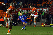 Oldham Athletic Midfielder, Liam Kelly shoots during the Sky Bet League 1 match between Blackpool and Oldham Athletic at Bloomfield Road, Blackpool, England on 16 February 2016. Photo by Pete Burns.