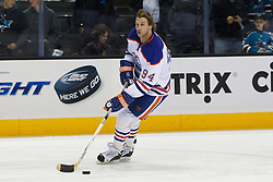 Dec 17, 2011; San Jose, CA, USA; Edmonton Oilers left wing Ryan Smyth (94) warms up before the game against the San Jose Sharks at HP Pavilion.  San Jose defeated Edmonton 3-2. Mandatory Credit: Jason O. Watson-US PRESSWIRE
