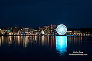 Night scene at Gaylord National Resort & Convention Center with the lighted Ferris Wheel on the Potomac River. Photo credit ©John Drew 2014. www.professionalimage.com #professionalimage