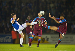 BRISTOL, ENGLAND - Tuesday, September 28, 2010: Tranmere Rovers' Joss Labadie and Bristol Rovers' Stuart Campbell during the Football League One match at the Memorial Ground. (Photo by David Rawcliffe/Propaganda)