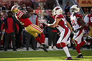 San Francisco 49ers wide receiver Marquise Goodwin (11) catches a long pass against the Arizona Cardinals at Levi's Stadium in Santa Clara, Calif., on November 5, 2017. (Stan Olszewski/Special to S.F. Examiner)