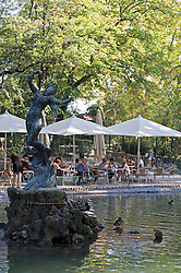 """Venus with Swallows"" by sculptor Felix Charpentier centers a cooling pond nextto the outdoor cafe in the heart of the Rochers des Doms, a botanical and ornamental garden on a high promentory in Avignon, overlooking the Rhome River."