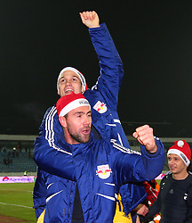 14.12.2011, Stadion Bratislava, Bratislava, SVK, UEFA EL, Gruppe F, SK Slovan Bratislava (SVK) vs FC Salzburg (AUT), im Bild Jubel nach dem Sieg von Andreas Ulmer, (Red Bull Salzburg, #17) und Stefan Maierhofer, (Red Bull Salzburg, #9) // during the football match of UEFA Europa League, Group F, between SK Slovan Bratislava (SVK) and FC Salzburg (AUT) at Stadion Bratislava, Bratislava, Slovakia on 14/12/2011. EXPA Pictures © 2011, PhotoCredit: EXPA/ T. Haumer