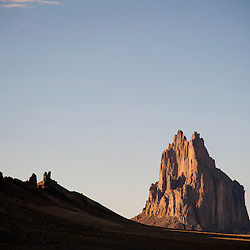 The iconic Shiprock rises from the desert floor.