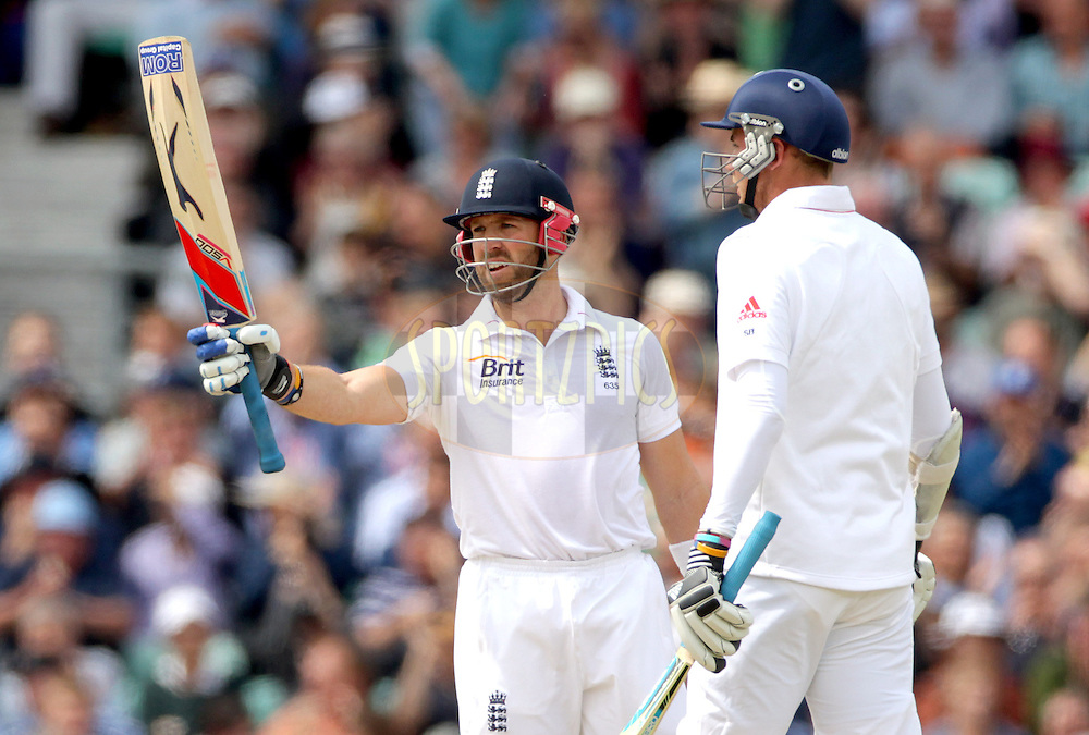 © Andrew Fosker / Seconds Left Images 2012 - England's Matt Prior (WK) celebrates his 50, fifty,half century with England's Stuart Broad (R)  England v South Africa - 1st Investec Test Match -  Day 2 - The Oval  - London - 20/07/2012