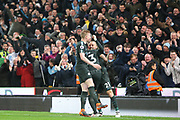 Gabriel Jesus and Kevin de Bruyne celebrate with David Silva after his 2nd goal during the Premier League match between Stoke City and Manchester City at the Bet365 Stadium, Stoke-on-Trent, England on 12 March 2018. Picture by Graham Holt.