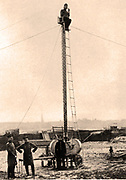 German Army collapsible observation tower which could be speedily erected and dismantled, c1914.
