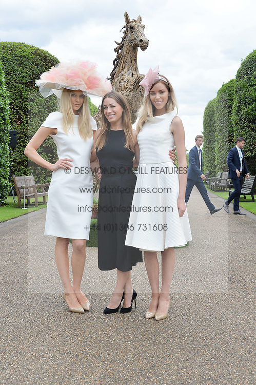Centre, ALANA PHILLIPS flanked by models  JASMIN BRUNNER and VIKA SKYTE at Goffs London Sale held at The Orangery, Kensington Palace, London on 15th June 2015.