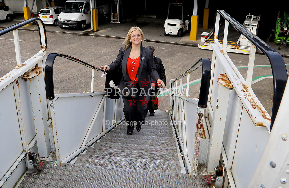 CARDIFF, WALES - Thursday, March 23, 2017: Wales' Suzanne Twamley boards the team plane as the squad depart Cardiff Airport to fly to Dublin ahead of the 2018 FIFA World Cup Qualifying Group D match against Republic of Ireland. (Pic by David Rawcliffe/Propaganda)