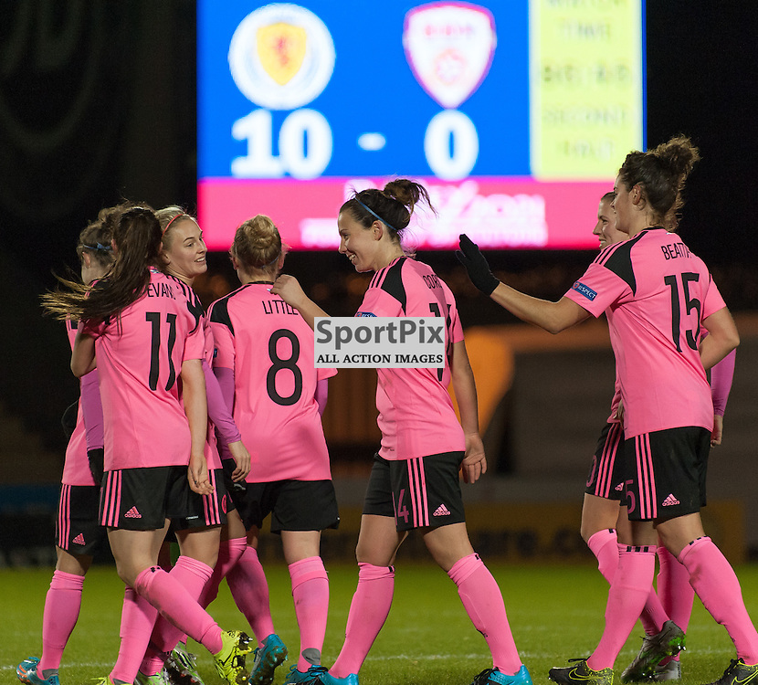 Pretty in pink: Scotland Women score a 10<br /> <br /> UEFA Women's European Championship Qualifying - Group 1 <br /> Scotland v FYR Macedonia<br /> St Mirren Park, Paisley<br /> Sunday 29 November 2015<br /> <br /> &copy; Russel Hutcheson | SportPix 2015
