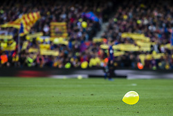 October 28, 2018 - Barcelona, Catalonia, Spain - Yellow ballons symbol of freedom for catalan political prisoners during the Spanish championship La Liga football match ''El Classico'' between FC Barcelona and Real Sociedad on October 28, 2018 at Camp Nou stadium in Barcelona, Spain. (Credit Image: © Xavier Bonilla/NurPhoto via ZUMA Press)
