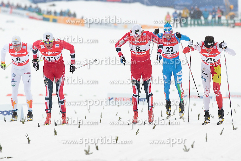 21.02.2013, Langlaufstadion, Lago di Tesero, ITA, FIS Weltmeisterschaften Ski Nordisch, Langlauf Herren, Sprint, im Bild Finish of semifinals during the Mens Cross Country Sprint of the FIS Nordic Ski World Championships 2013 at the Cross Country Stadium, Lago di Tesero, Italy on 2013/02/21. EXPA Pictures ©  2013, PhotoCredit: EXPA/ Federico Modica