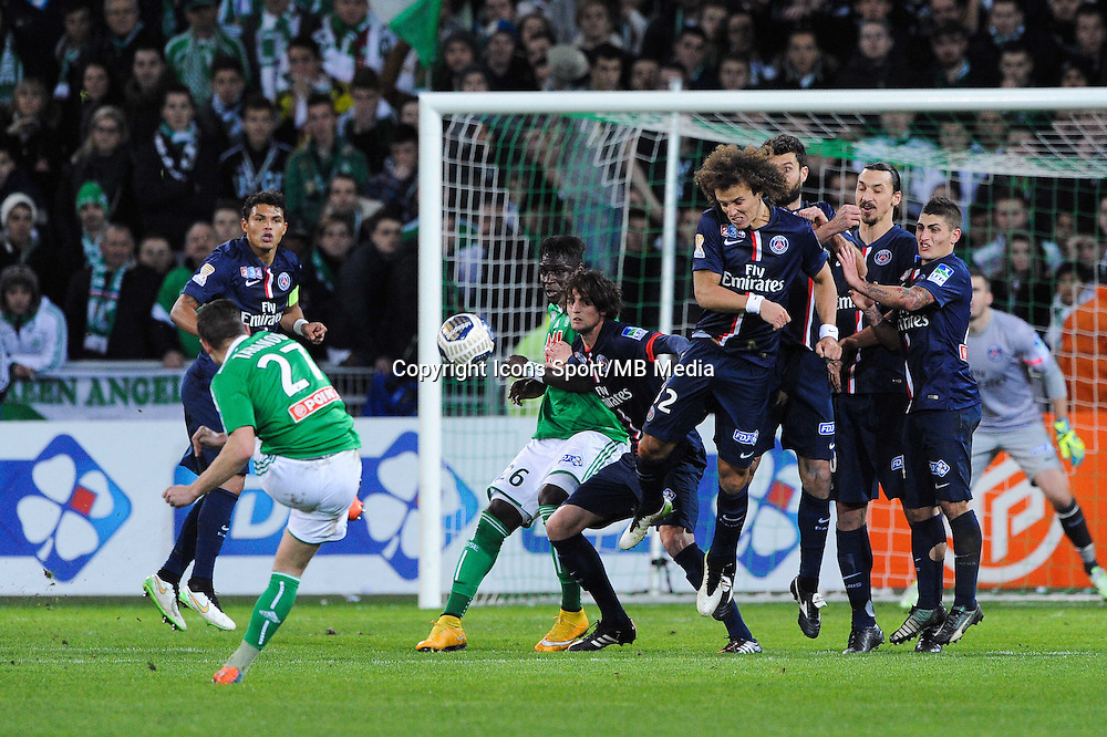 Illustration Coup Franc - Franck TABANOU / David LUIZ / Thiago MOTTA / Zlatan IBRAHIMOVIC / Marco VERRATTI - 13.01.2015 - Saint Etienne / Paris Saint Germain - 1/4Finale Coupe de la Ligue<br />