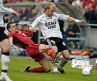 Fotball, Tippeligaen, 19 Juni 2005, Brann - Rbk, Paul Scharner, Brann, og Michael Dorsin. RBK.  Foto: Kjetil Espetvedt, Digitalsport.