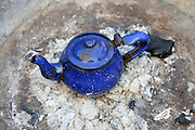 Blue Tea pot on a stove, on a sailing boat, Western Africa, Mauritania, Africa