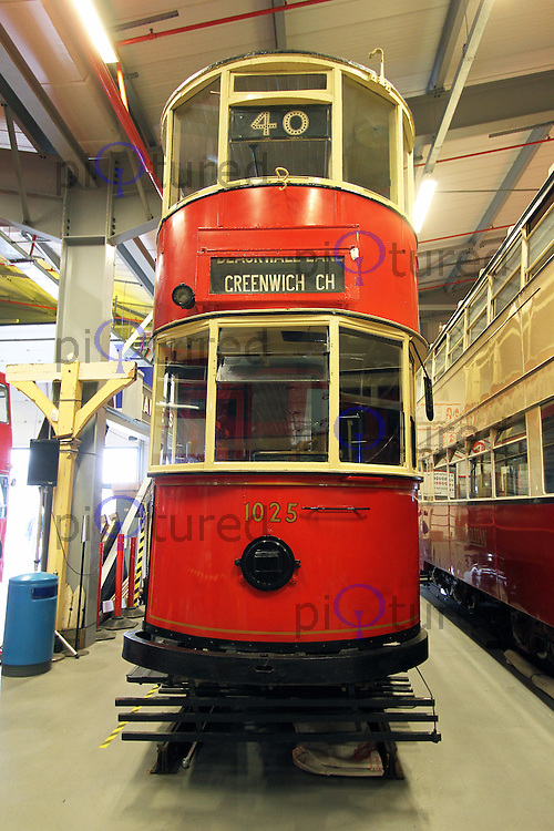 1910 London County Council Tramways Class E1 double deck tram, London Transport Museum Depot at Acton, 13 April 2013, (Photo by Richard Goldschmidt)