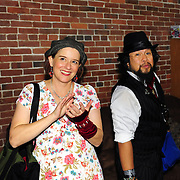 """Bassist """"Low-Down Kate"""" and singer """"The Animal""""  backstage in the Green Room after their performance with Vaud and the Villains at The Music Hall in Portsmouth, NH. July 2012."""