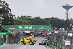 The Ferrari SF16-H of Kimi Raikkonen (FIN) Ferrari is removed from the circuit after he crashed out of the race.<br /> 13.11.2016. Formula 1 World Championship, Rd 20, Brazilian Grand Prix, Sao Paulo, Brazil, Race Day.<br />  <br /> / 131116 / action press