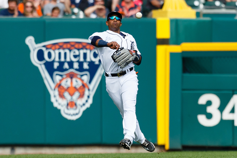 Jun 13, 2015; Detroit, MI, USA; Detroit Tigers left fielder Yoenis Cespedes (52) makes a throw in the fourth inning against the Cleveland Indians at Comerica Park. Mandatory Credit: Rick Osentoski-USA TODAY Sports