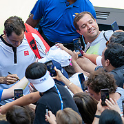 2019 US Open Tennis Tournament- Day Five.  Roger Federer of Switzerland signs autographs after his victory against Daniel Evans of Great Britain in the Men's Singles Round Three match on Arthur Ashe Stadium at the 2019 US Open Tennis Tournament at the USTA Billie Jean King National Tennis Center on August 30th, 2019 in Flushing, Queens, New York City.  (Photo by Tim Clayton/Corbis via Getty Images)