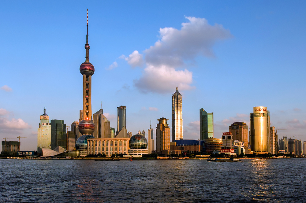Pudong skyline and the Yangtse River
