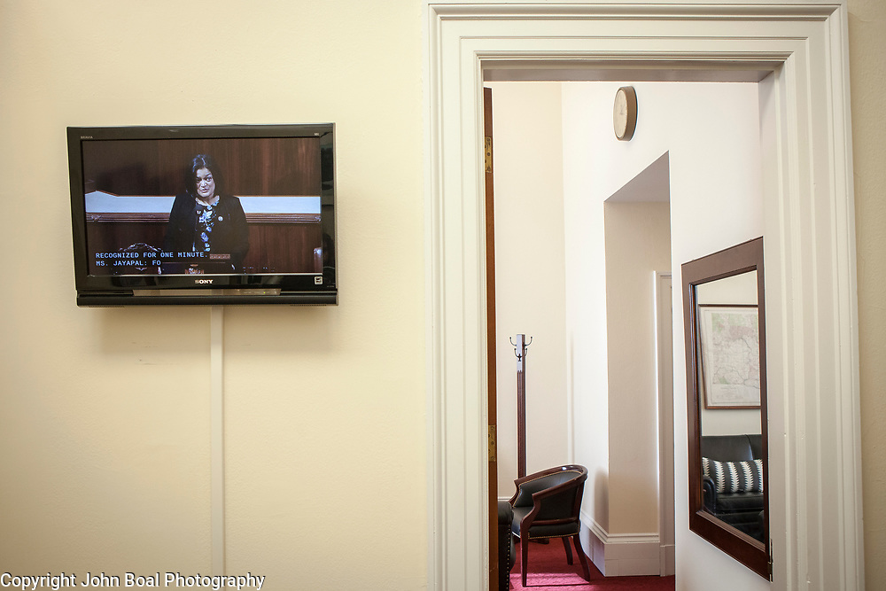 Representative Pramila Jayapal (D-WA, 7), as seen from the television in her congressional office, delivers a one-minute speech on the floor of the House to repudiate President Trump's January 27, 2017 executive order on Tuesday, January 31, 2017.  One-minute speeches are a common occurrence in the House of Representatives.  Delivered at the beginning of the legislative day, it's an opportunity for Representative to take a brief moment to address any area of concern.  John Boal photo/for The Stranger