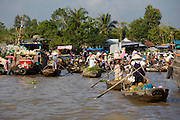 Mekong Delta. Phong Dien floating market. Traditional rowing boats.