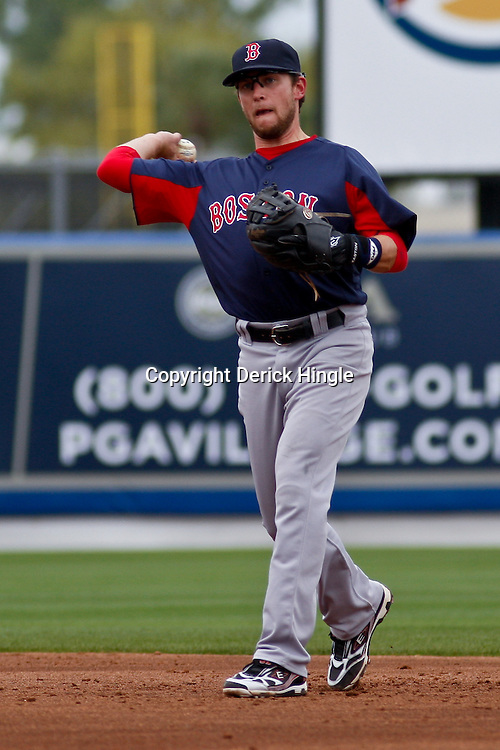 March 6, 2011; Port St. Lucie, FL, USA; Boston Red Sox shortstop Marco Scutaro (16) during a spring training exhibition game against the New York Mets at Digital Domain Park. The Mets defeated the Red Sox 6-5.  Mandatory Credit: Derick E. Hingle