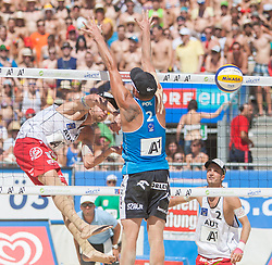 02.08.2013, Klagenfurt, Strandbad, AUT, A1 Beachvolleyball EM 2013, Pool Match Herren, Gruppe Q, Spiel 47, im Bild v.l. Robin Seidl 1 AUT,  Jakub SZALANKIEWICZ 2 POL,  Alexander 'XNADI' Huber 2 AUT // during mens group Q pool match 47 of the A1 Beachvolleyball European Championship at the Strandbad Klagenfurt, Austria on 2013/08/02. EXPA Pictures © 2013, EXPA Pictures © 2013, PhotoCredit: EXPA/ Mag. Gert Steinthaler