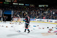 KELOWNA, CANADA - DECEMBER 1:  Mark Liwiski #9 of the Kelowna Rockets skates among the bears after scoring a second period goal and triggering the annual Teddy Bear Toss against the Saskatoon Blades on December 1, 2018 at Prospera Place in Kelowna, British Columbia, Canada.  (Photo by Marissa Baecker/Shoot the Breeze)