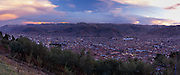 High-angle, sunset view across Cusco, Peru from Cristo Blanco.