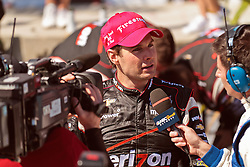 LONG BEACH, CA - APR 15: IndyCar Series driver Will Power is interviewed by NBCsports network after winning the 2012 Toyota Grand Prix of Long Beach. All fees must be ageed prior to publication,.Byline and/or web usage link must  read SILVEX.PHOTOSHELTER.COM Photo by Eduardo E. Silva