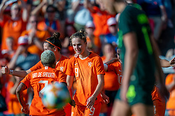 01-06-2019 NED: Netherlands - Australia, Eindhoven<br /> <br /> Friendly match in Philips stadion Eindhoven. Netherlands win 3-0 / Vivianne Miedema #9 of The Netherlands score 2-0, Lieke Martens #11 of The Netherlands, Merel van Dongen #4 of The Netherlands, Shanice van de Sanden #7 of The Netherlands
