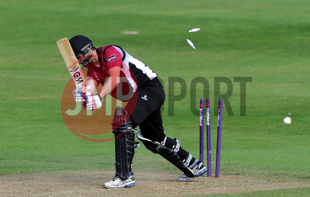 Somerset's Lewis Gregory is bowled by Kent's Mitchel Claydon. Photo mandatory by-line: Harry Trump/JMP - Mobile: 07966 386802 - 31/05/15 - SPORT - CRICKET - Natwest T20 Blast - Somerset v Kent- The County Ground, Taunton, England.